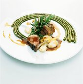 Rack of lamb with asparagus beans