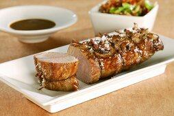 Roast pork fillet with ginger