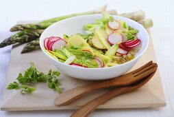 Potato salad with raw green asparagus and radishes
