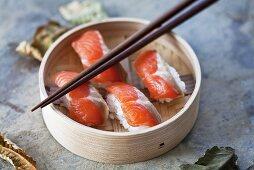 Nigiri sushi with 'sake' (salmon), Japan