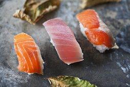 Nigiri sushi with 'toro' (tuna) and 'sake' (salmon), Japan
