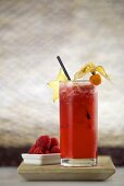 Summer Dream (cocktail made with rum, Amaretto, cranberry juice, raspberries and ginger ale)