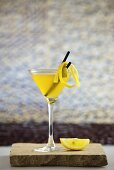 Yellow cocktail (Rum, Martini, passion fruit syrup, lemon juice and ginger ale)