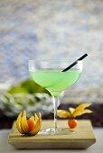 Pistachio coaktail (pistachio syrup, bourbon and lime juice)