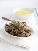 Lamb stew with a white wine sauce