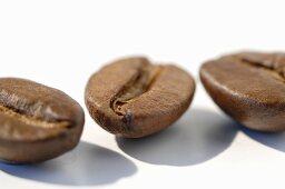 Three coffee beans (close up)