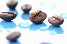 Coffee beans with drops of water