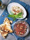 Aubergine puree with almonds and a chili-tomato dip (Turkey)