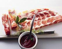 Pork ribs with a marinade