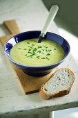 Cream of asparagus soup with chives