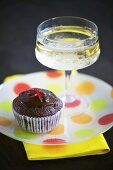 A chilli-chocolate muffin and champagne