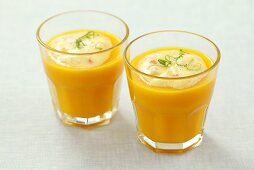 Cold carrot soup with surimi cream and lime