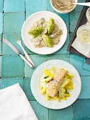 Polenta and chive gnocchi with a creamy mushroom sauce and salmon with a chive sauce