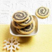 Christmas poppy seed spirals