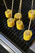 Corn cobs on a barbeque