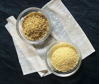 Couscous and bulgur in two dishes on filo pastry