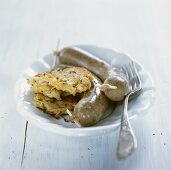 Czech liver sausages with potato cakes