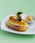 Potato Croque Monsieur with gherkin and mustard
