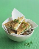 Shrimp sandwiches with cress
