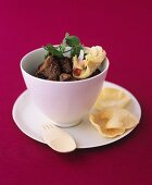 Beef curry with mini-poppadoms