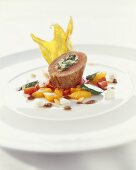 Stuffed veal fillet on peppers