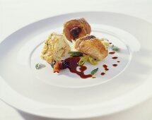 Breast of guinea fowl and pigeon