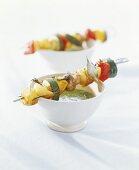 Vegetable kebabs with herb sauce