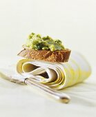 Crostini with avocado and parsley spread
