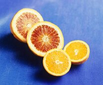 Halved orange and blood orange