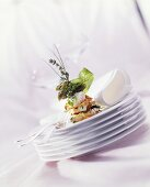 Tower of filo pastry & asparagus mousse with green asparagus tips