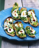 Savoy cabbage, rocket and cheese crostini