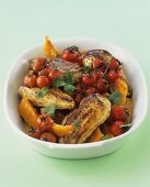 Chicken with Moroccan spices, pumpkin and tomatoes