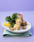 Grilled scallop and tuna kebabs with garlic oil