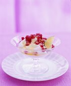 Ricotta cream with honey and pomegranate seeds