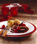 Leg of venison with cherry sauce and chestnut dumplings