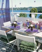 Laid table on balcony (summer)