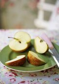 Apple pieces on a plate
