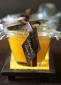 Lemon curd in jar to give as a gift