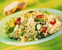 Barley, courgette and tomato salad