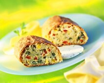 Barley and vegetable strudel