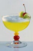 Melon Sour (Drink made with melon liqueur, lemon juice, egg white)