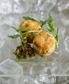 Fried fish balls on ice