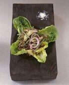 Lentil salad on a bed of cos lettuce