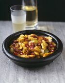 Croutons with grapes and pomegranate seeds