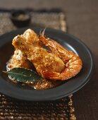 Braised chicken with prawns