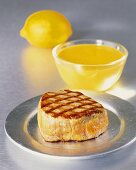 Grilled veal loin with a lemon sauce