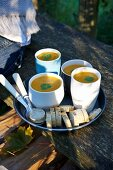 Cream of pumpkin soup in cups
