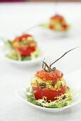 Stuffed tomatoes with couscous salad