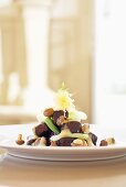 Braised beef with chanterelle mushrooms and spring onions