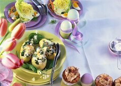 Muffins, potatoes stuffed with spinach & lettuce hearts with egg